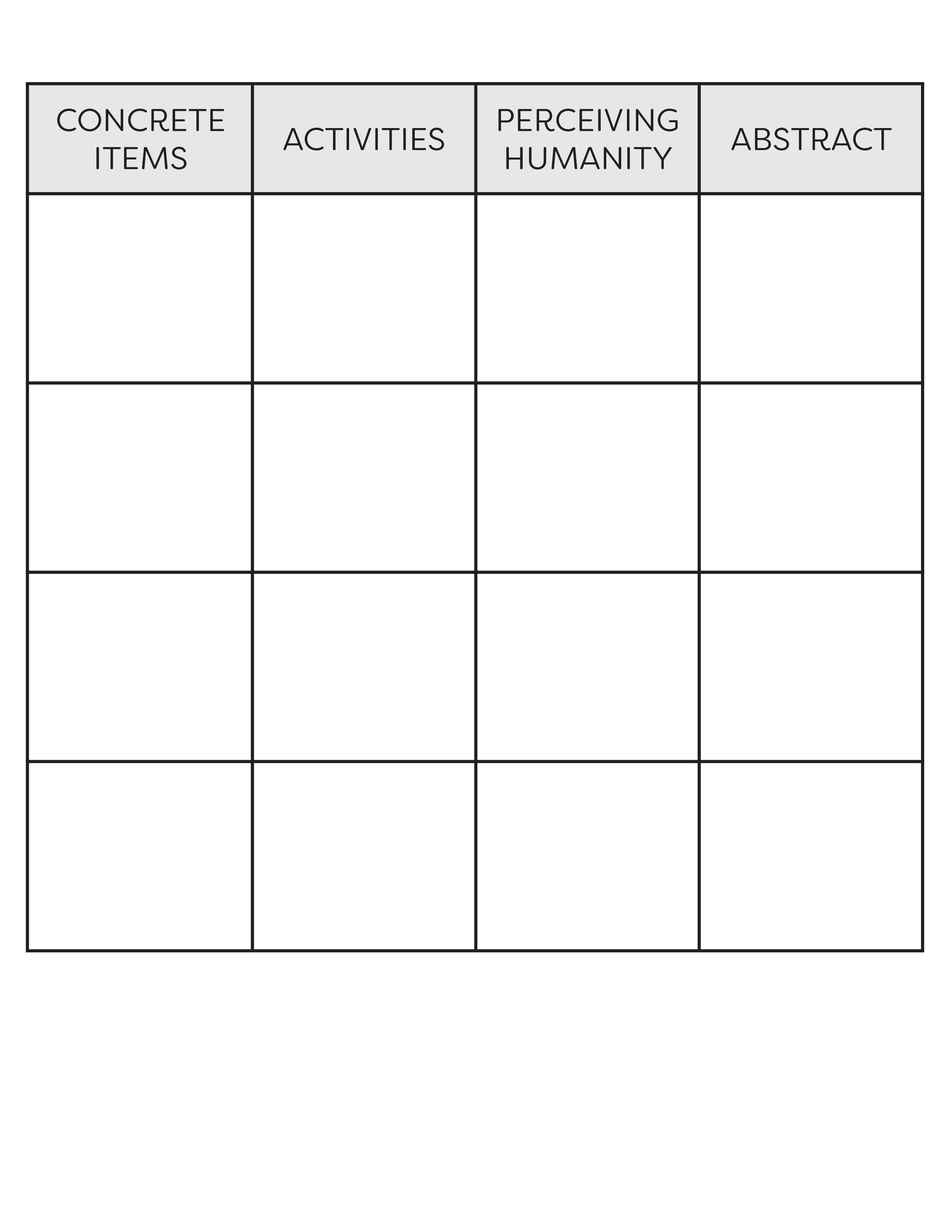 Blank Restaurant Bingo Card